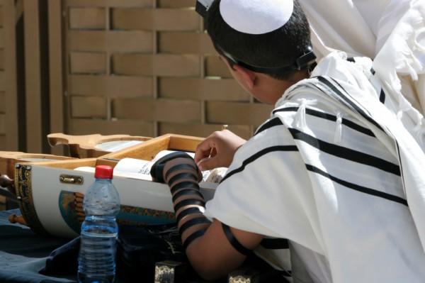 Reading-Torah Scroll-Western Wall-Bar Mitzvah-young man