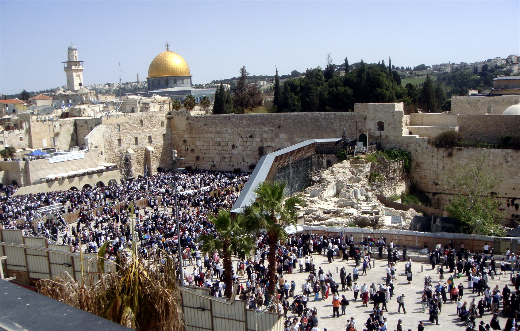 The historical record reveals that the Jewish People have been gathering  at the Western (Wailing) Wall in the Old City of Jerusalem to pray since  before the fourth century.  It is the logical place to come as the Western  Wall is part of the retaining wall for the Temple Mount, and the last vestige  of the Second Temple.