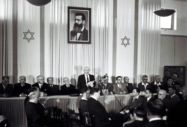 David Ben-Gurion proclaims the establishment of the State of Israel.