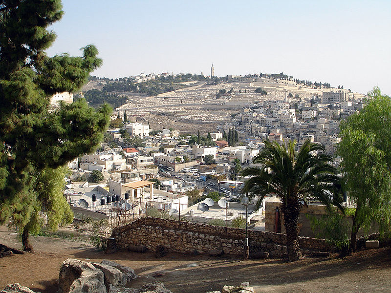 The City of David with the Kidron Valley and the Mount of Olives in the background.