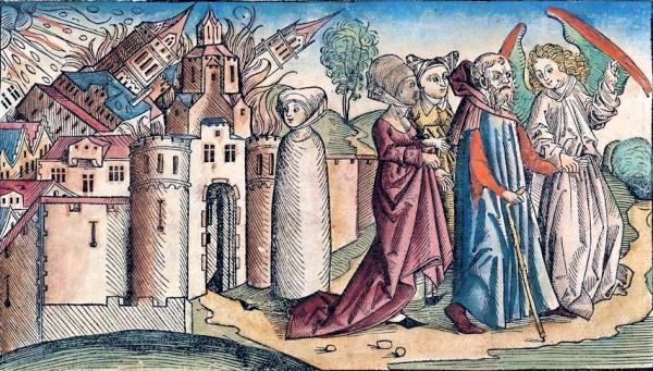 Painting-Lot Leaving Sodom-Nuremberg-woodcut-1493
