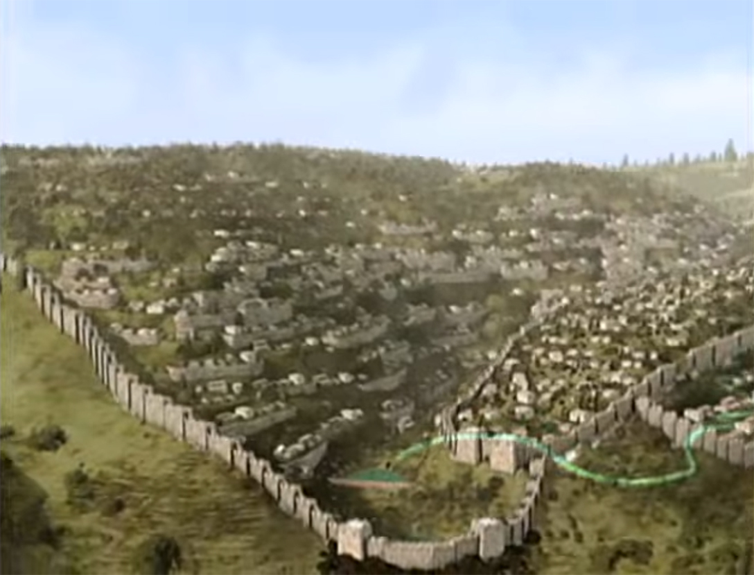 This Ir Foundation mockup of ancient Jerusalem depicts Hezekiah's tunnel, represented by a curved green line, which runs through the City of David, down its southern slope, and into the Pool of Siloam. <em>(City of David YouTube capture)</em>