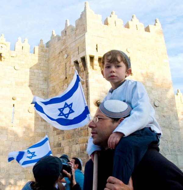 Jewish boy-Dad's shoulders-Israeli Independence