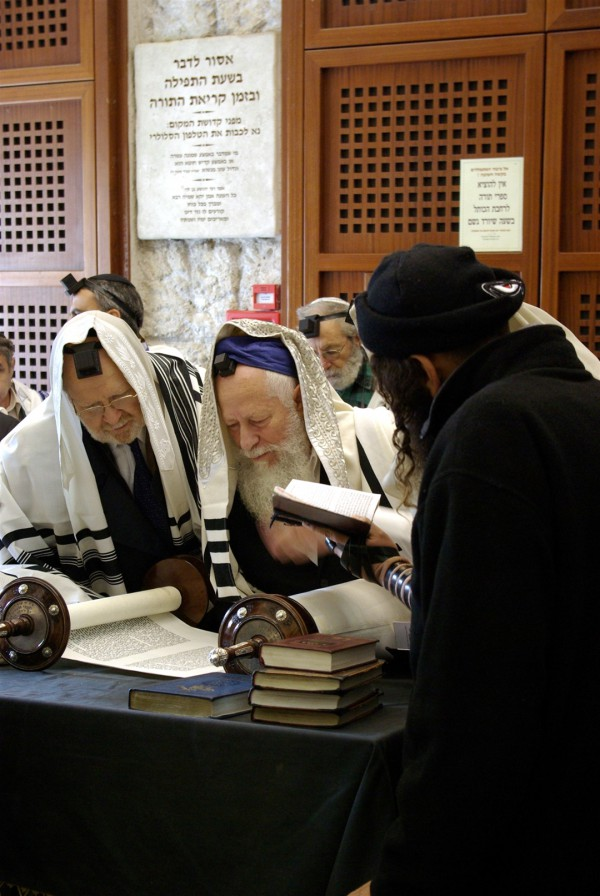 Jerusalem-Western Wall-reading-Torah scroll-Orthodox Jewish men