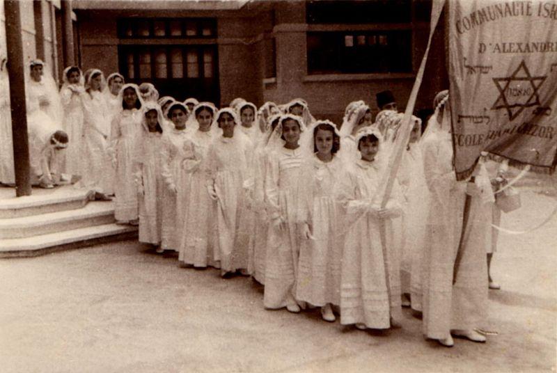 Jewish girls in Alexandria, Egypt have their Bat Mitzvah. This photo was taken prior to 1967.