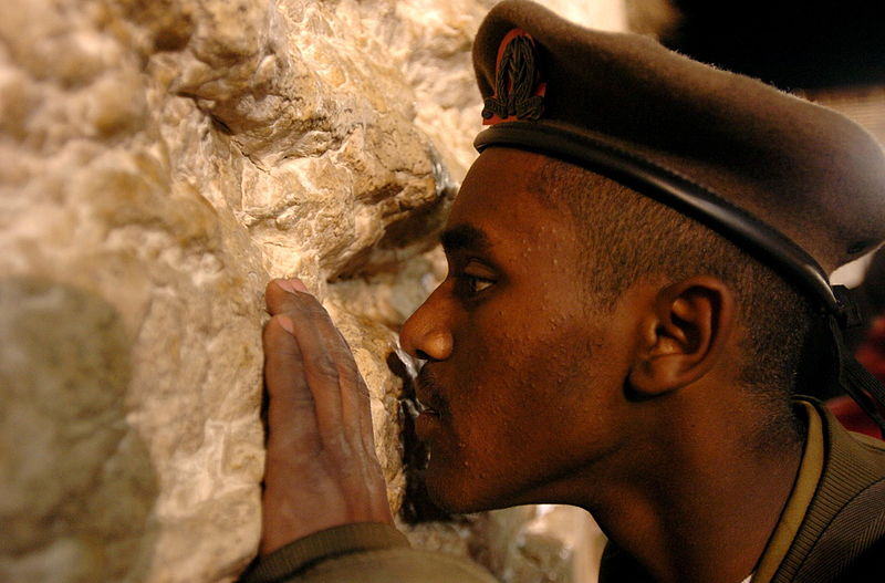 Ethiopian Israeli Soldier-Western Wall-Praying
