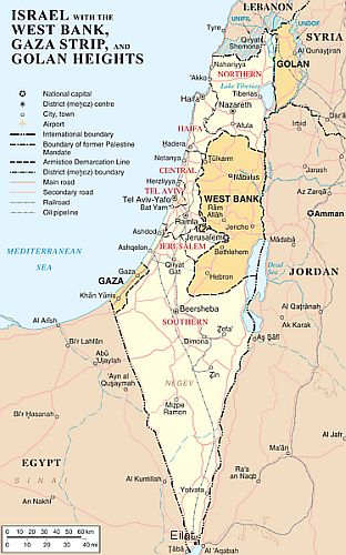 Map of Israel-West Bank-Gaza Strip-Golan Heights