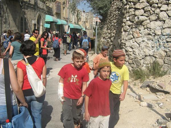 Israeli children-walking-Hebron