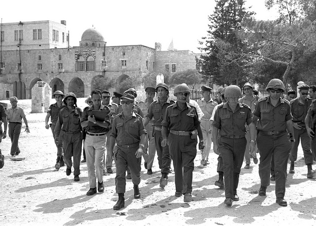 Six Day War: (left to right) Jerusalem Commander Uzi Narkis, Defense Minister Moshe Dayan, IDF Chief of Staff Yitzhak Rabin, and General Rehavam Ze'evi walk through the Old City of Jerusalem.