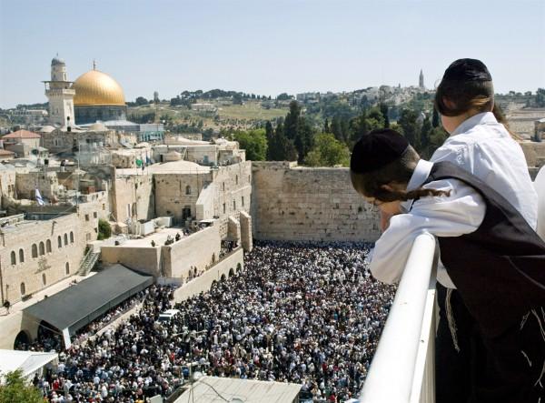 Young Orthodox-Jewish-Kotel-Crowded-Western (Wailing) Wall