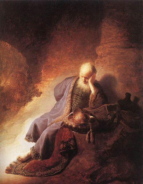 Jeremiah Lamenting the Destruction of Jerusalem-Rembrandt