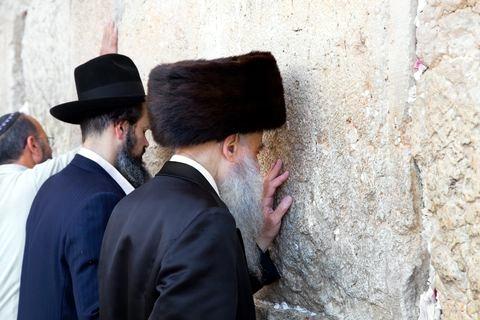 Jewish Men-Praying-Western (Wailing) Wall-Temple Mount