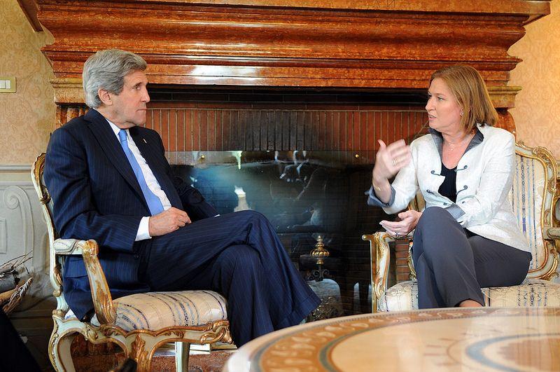 U.S. Secretary of State John Kerry and Israel's Justice Minister Tzipi Livni