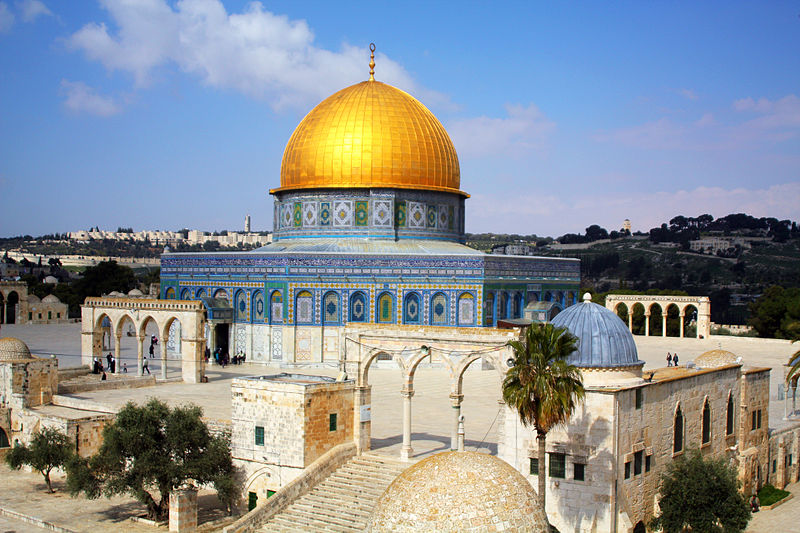 The Muslim Dome of the Rock is thought to sit on the spot where the Jewish First and Second Holy Temples were located.