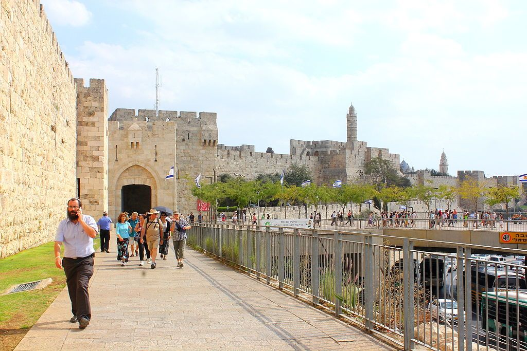 Jerusalem's Jaffa Gate (left) and the Tower of David (right).