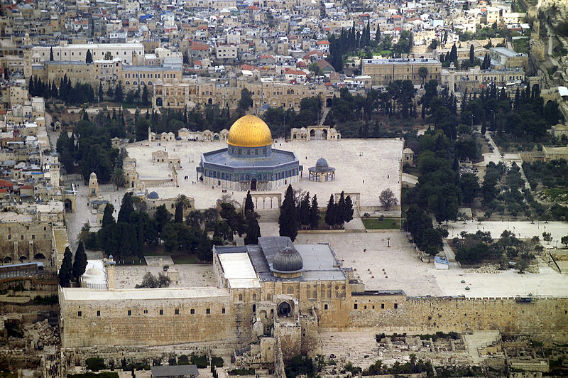 Aerial view-Temple Mount-Dome of the Rock-Al-Aqsa Mosque