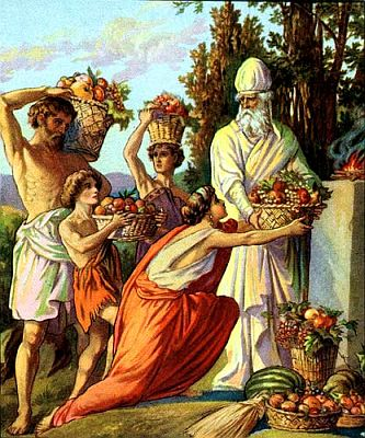 Firstfruits being offered to the Jewish priest