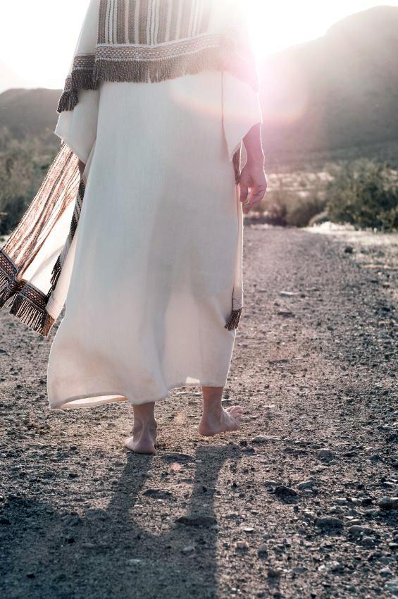 Man in Robe-Walking-Footsteps