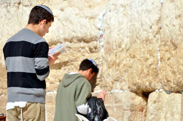 Jewish youth-pray-Western (Wailing) Wall