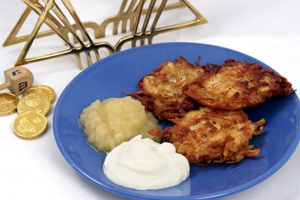 Latkes-Sour Cream-Applesauce-Hanukkah delight
