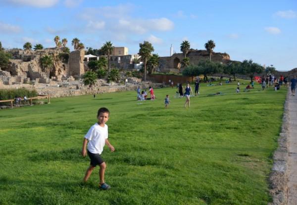 Israeli boy-playing-Caesarea Park