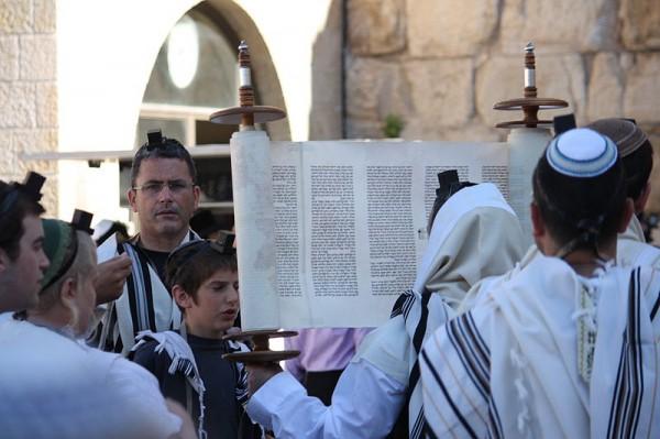 Lifting-Torah-Western (Wailing) Wall-Jerusalem-Kotel
