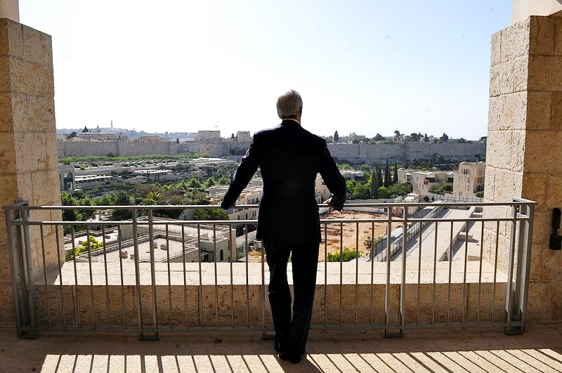 US Secretary of State John Kerry looks out over Jerusalem.