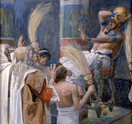 <b>The Plague of Flies,</b> by James Tissot, depicts the fourth plague and the supremacy of YHWH over the Egyptian god Khepri, who had the head of a fly.