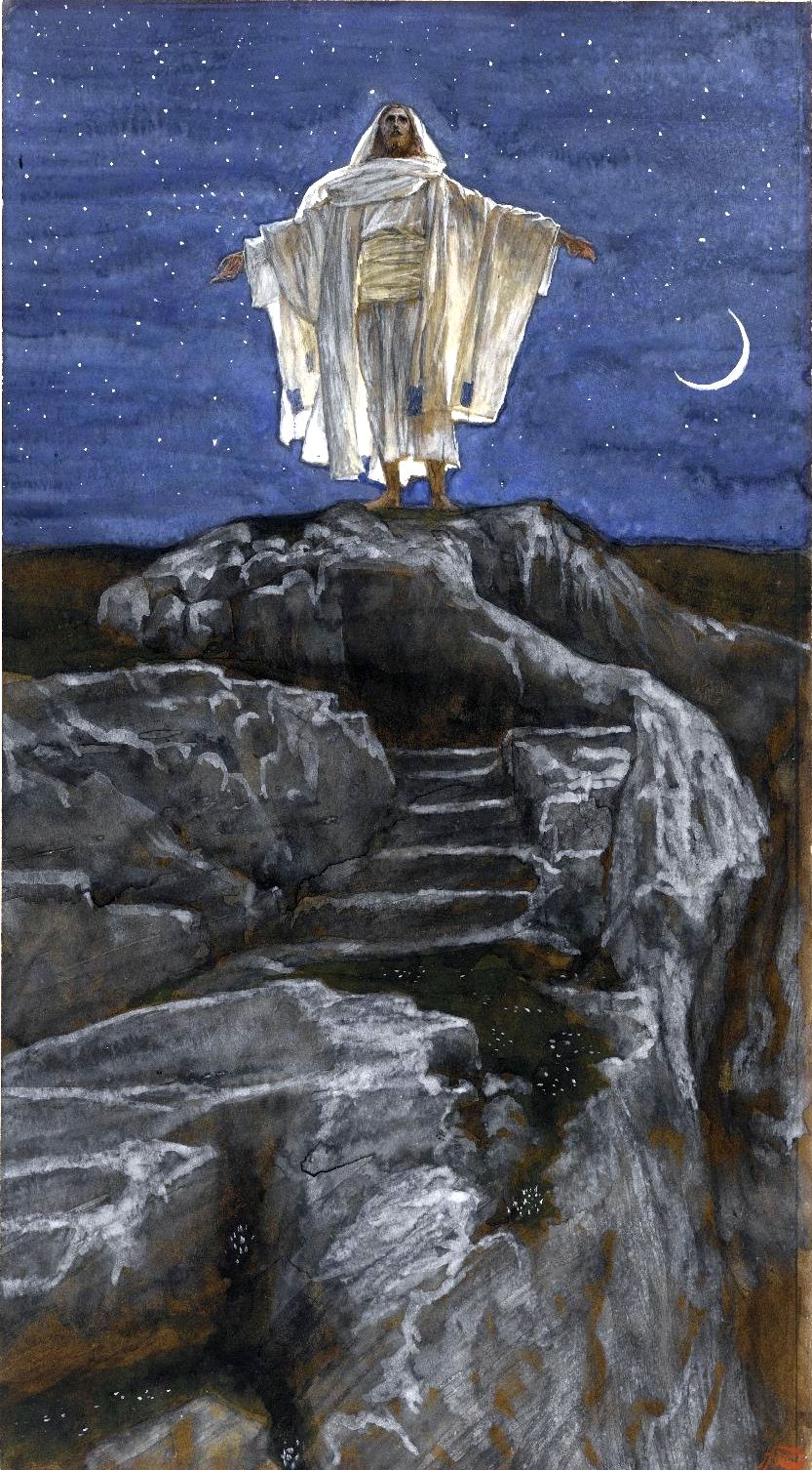 Yeshua Goes Up Alone onto a Mountain to Pray, by James Tissot