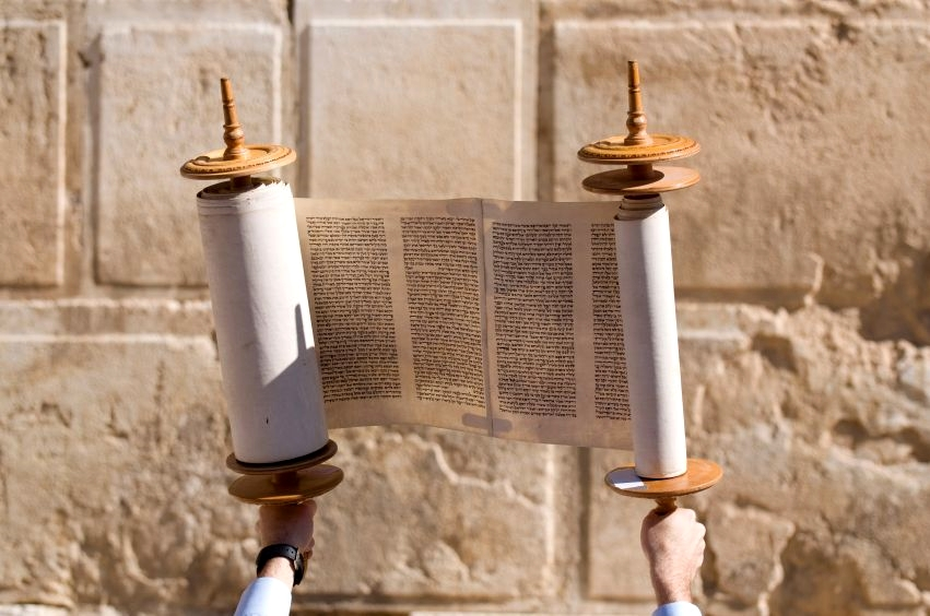 Displaying the Torah for all to see at the Western Wall in Jerusalem.