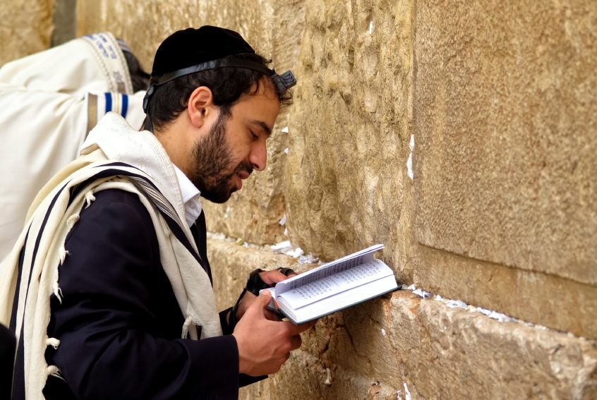 Jewish man-praying-Western Wailing Wall-Kotel