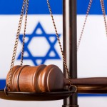 Scales of justice gavel Israel flag