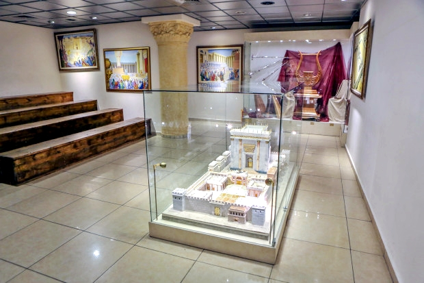 A model of the Holy Temple at the Temple Institute's Holy Temple Visitors Center in Jerusalem.