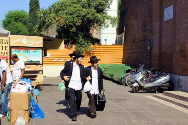 Orthodox Jewish students in Rome, Italy.