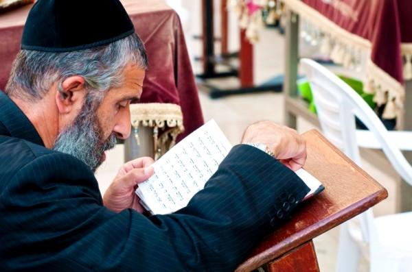Orthodox man prays at the Kotel