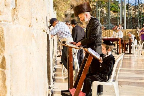 Jewish-men-children-pray-Western (Wailing) Wall-Jerusalem