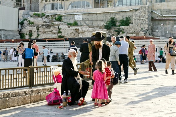 An Orthodox Jewish family in Jerusalem at the Western (Wailing) Wall Plaza.