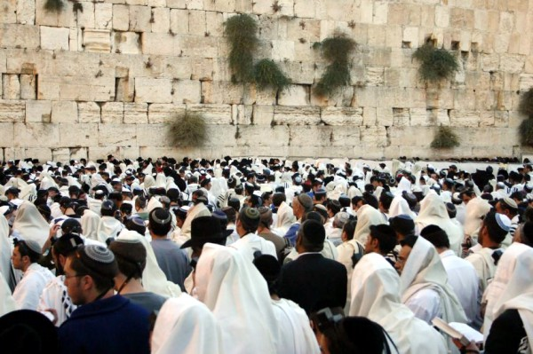 Yom Kippur at the Western (Wailing) Wall in the Old City of Jerusalem.