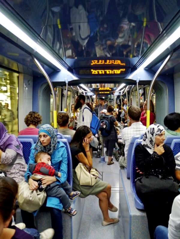 Jerusalem-Light Rail-Arab-Jewish-passengers-multicultural-Israel-commuting
