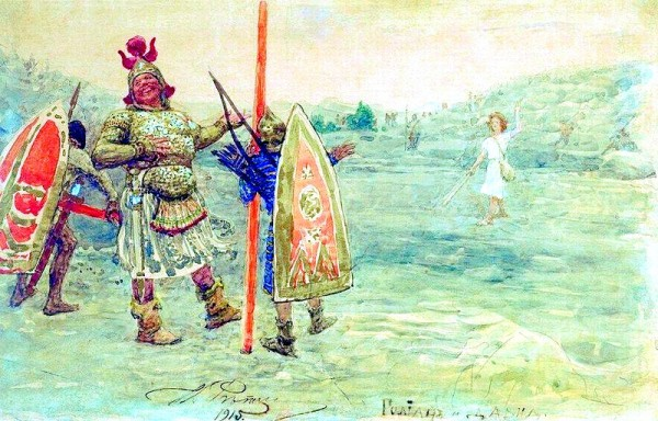 Goliath laughs at David, by Ilya Repin