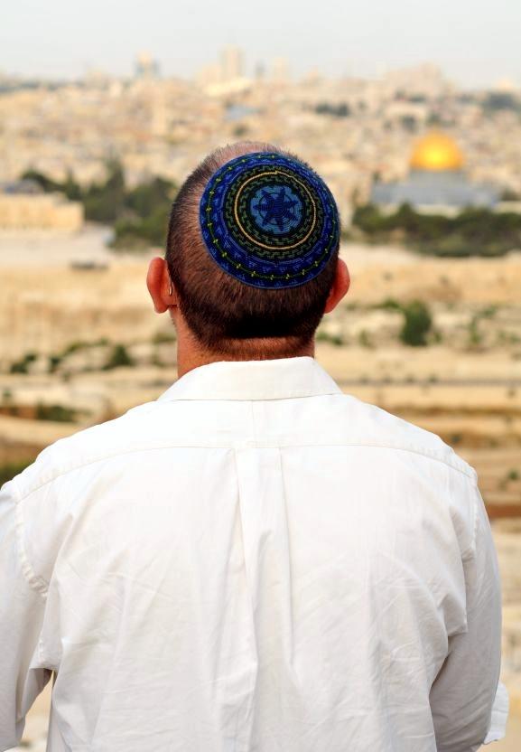 overlooking-Temple Mount-Kotel-kippah