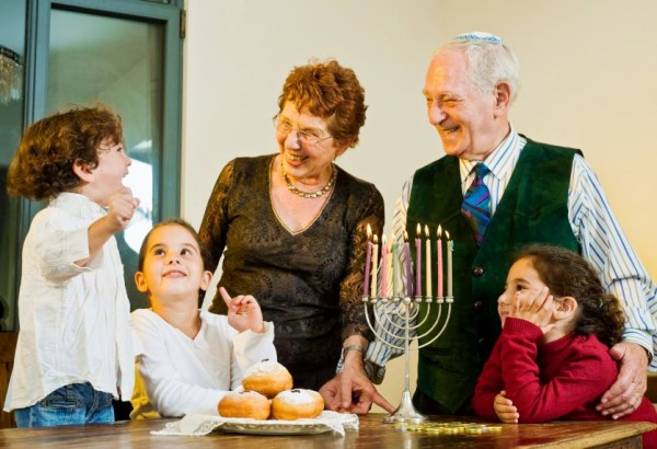 Channukah, Hannukah, family lighting menorah