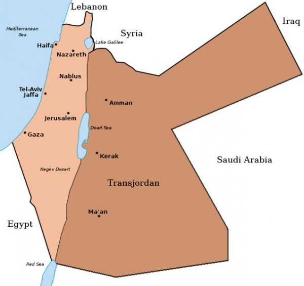 The British Mandate divided to create the Arab state of Transjordan