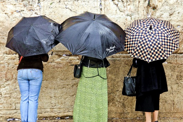 prayer-rain-women's section-Kotel-Wailing Wall