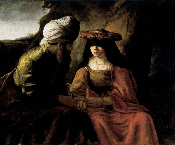 Judah and Tamar, by school of Rembrandt
