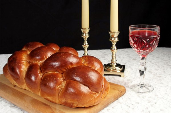 Shabbat candles-wine-challah