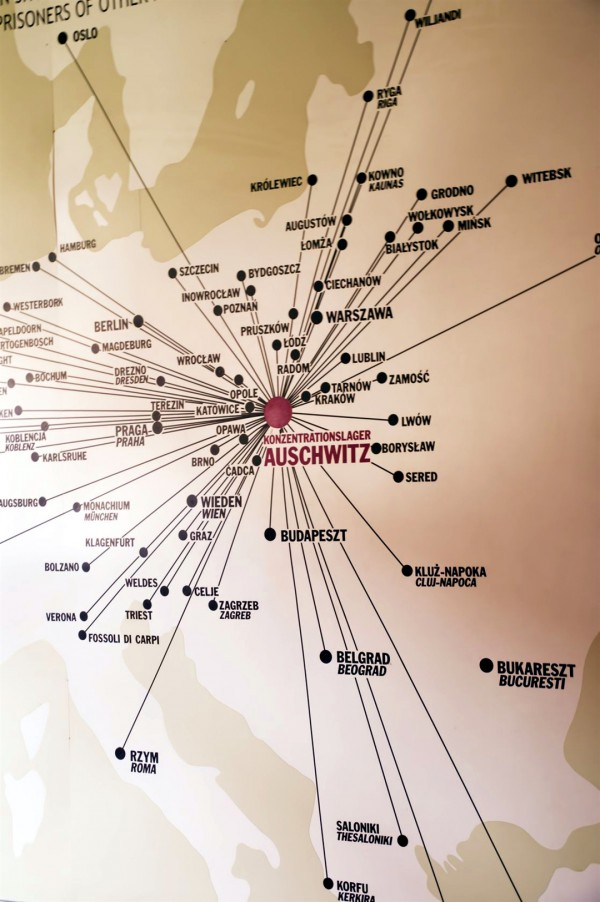 An Auschwitz museum graphic showing the reach of the death camp.
