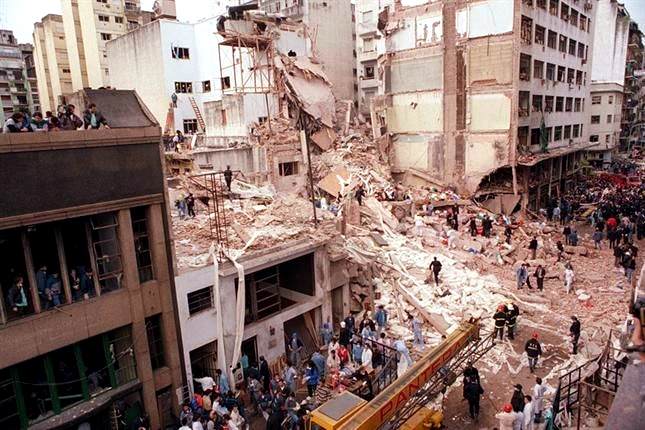 Remains of the AMIA after the 1994 AMIA bombing in Buenos Aires, Argentina.