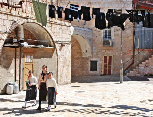 Orthodox Jewish girls in the Jerusalem neighborhood of Mea Shearim.