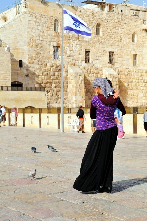 Jewish mother-child-Jerusalem-Promenade-Kotel
